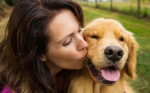 Acest Labrador adoră să fie pupat de către stăpâna sa