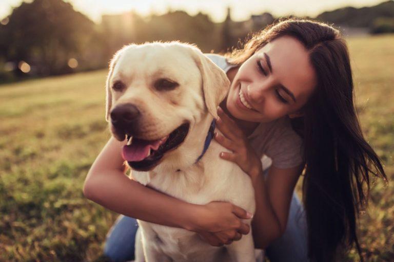 Stăpână își îngrijește câinele oferindu-i suplimente de vitamine și minerale